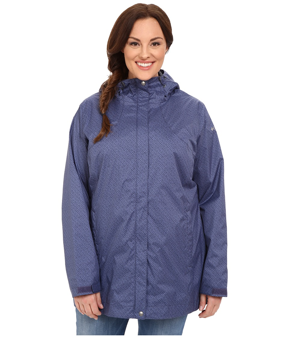Columbia - Plus Size Splash A Little Rain Jacket (Nocturnal Print) Women's Coat