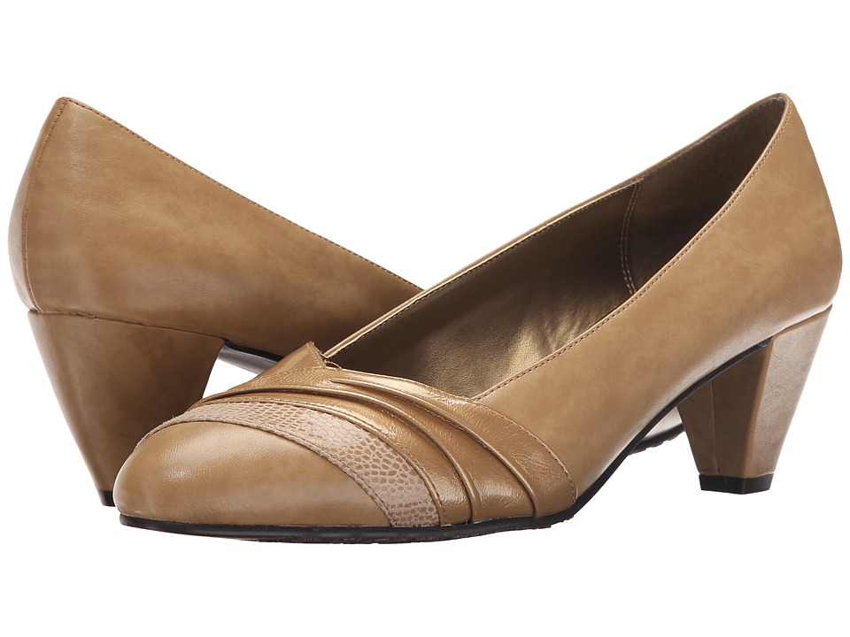 Soft Style Danette (New Taupe Vitello/Pearl Patent) Women's 1-2 inch heel  Shoes