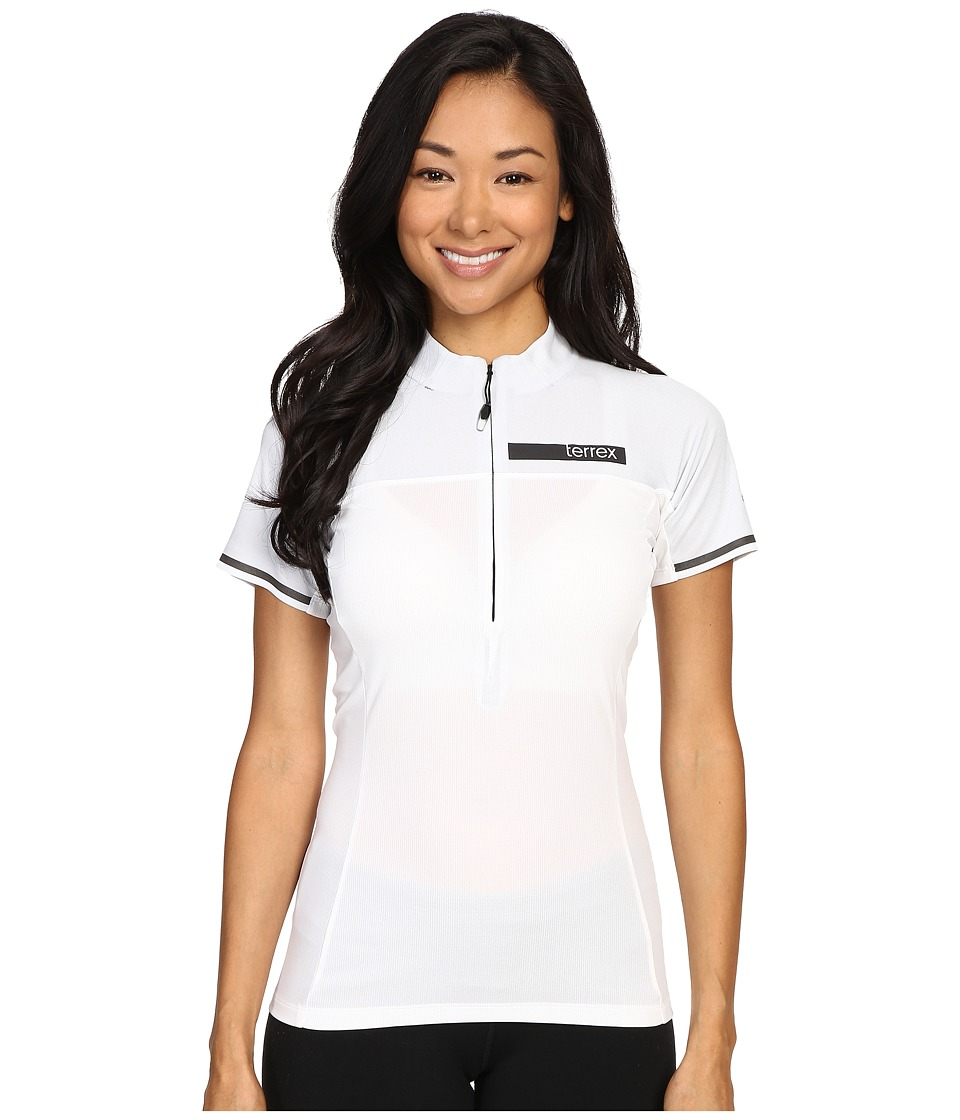 adidas Outdoor - Terrex Climachill Half Zip Tee (White/Chill White) Women's Short Sleeve Pullover