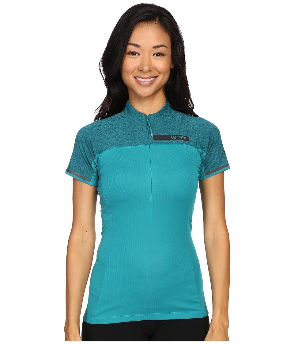 adidas Outdoor - Terrex Climachill Half Zip Tee (EQT Green/Chill EQT Green) Women