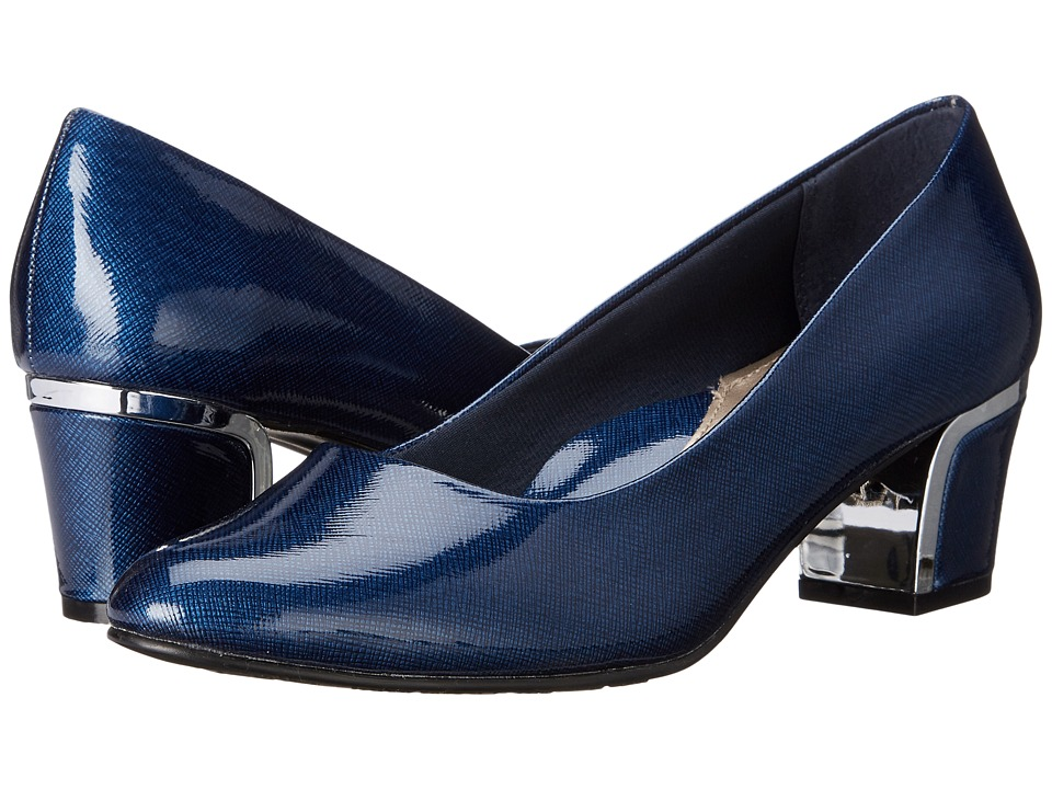 Soft Style - Deanna (Navy Cross Hatch Patent/Silver) Women's 1-2 inch heel Shoes