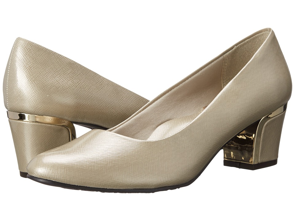 Soft Style - Deanna (Bone Cross Hatch Patent/Gold) Women's 1-2 inch heel Shoes