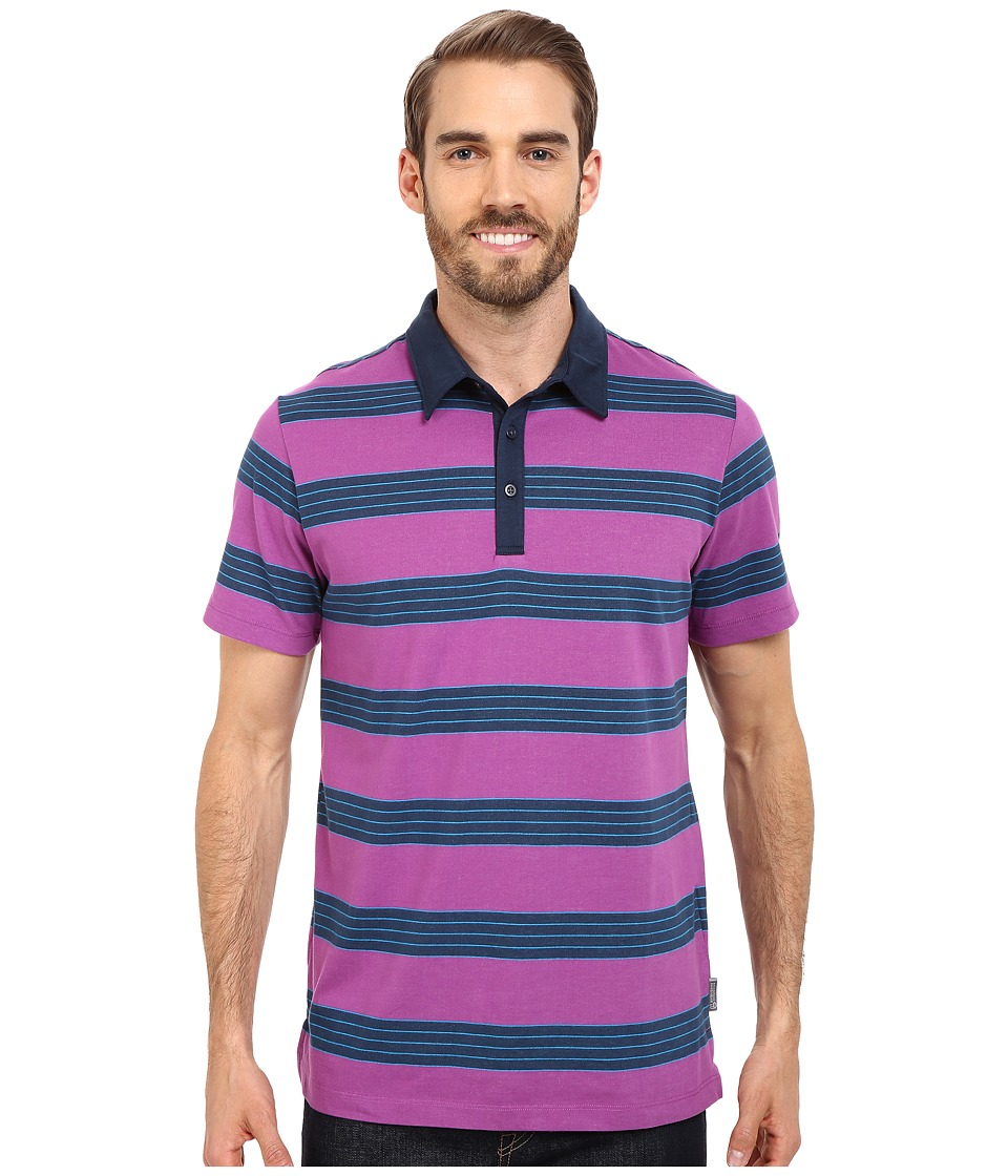 Mountain Hardwear - ADL Striped S/S Polo (Berry Jam) Men's Clothing