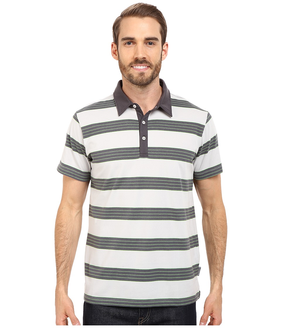Mountain Hardwear - ADL Striped S/S Polo (Grey Ice) Men's Clothing