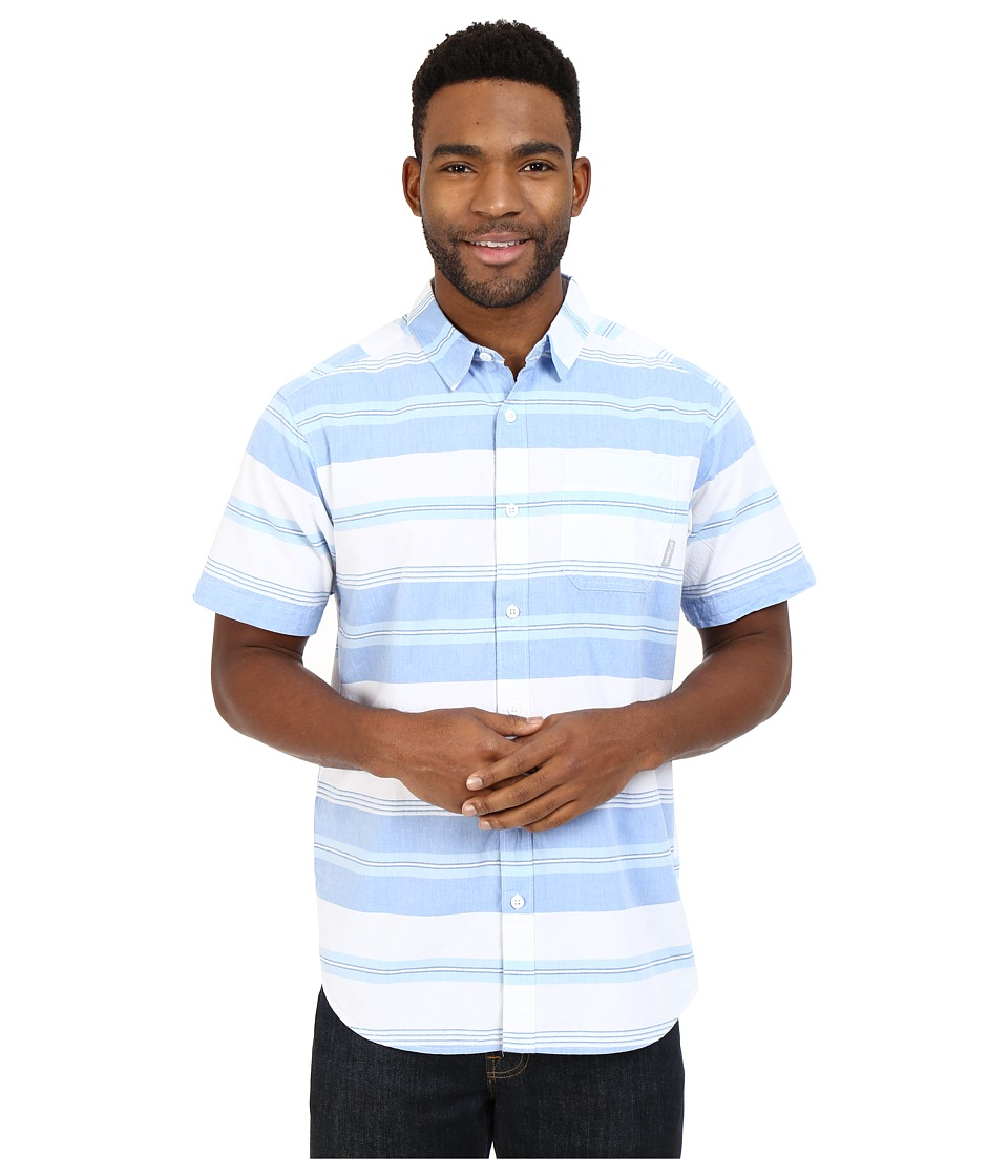 Columbia - Thompson Hill II Yarn Dye Shirt (Super Blue Stripe) Men's Short Sleeve Button Up
