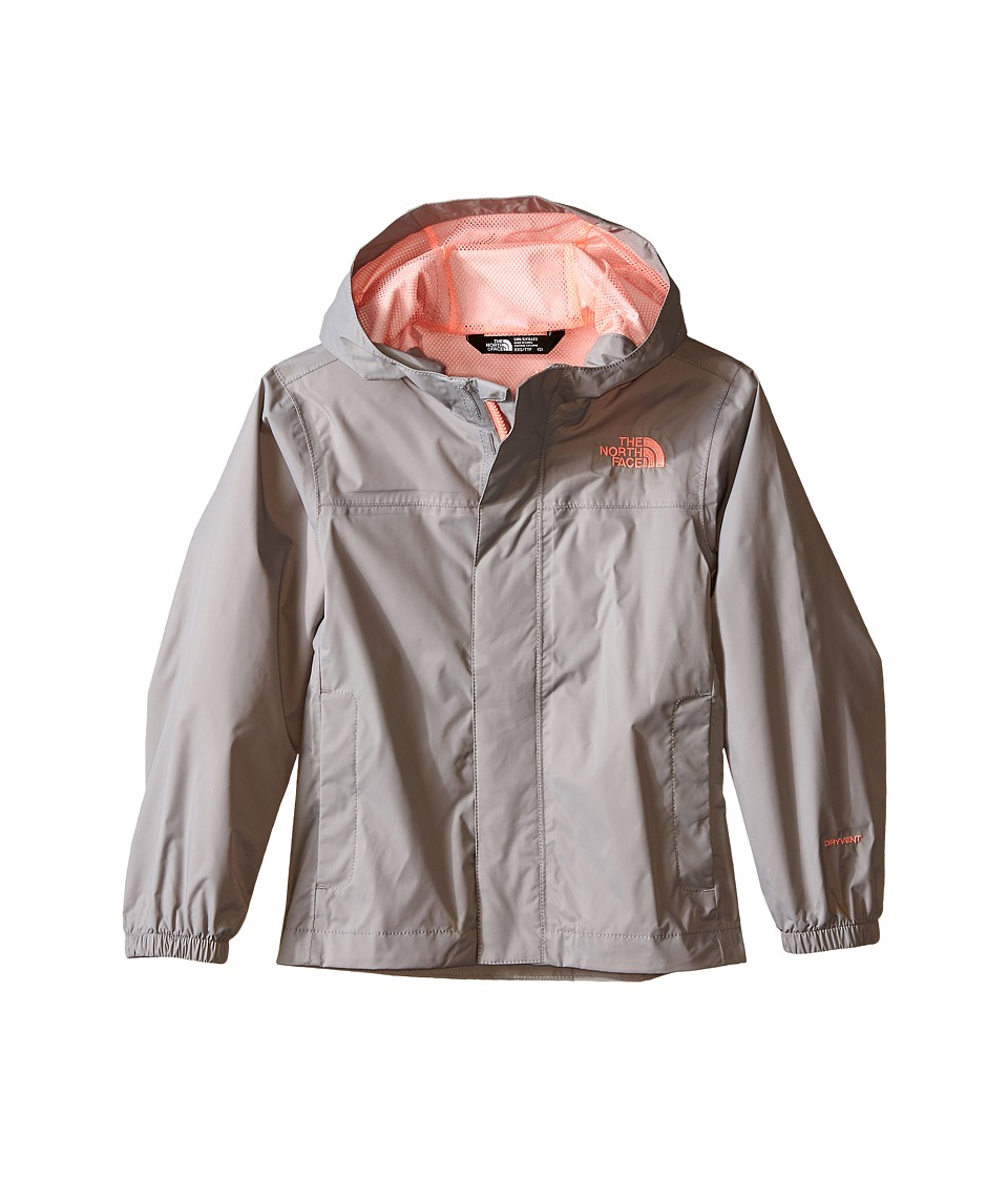 The North Face Kids - Girls' Zipline Rain Jacket (Little Kids/Big Kids) (Metallic Silver/Neon Peach) Girl's Coat