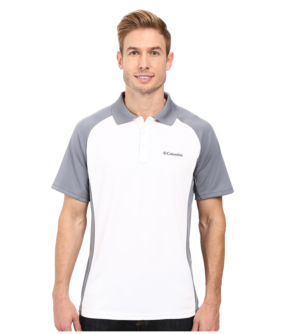 Columbia - Blasting Cool Polo II (White/Grey Ash) Men's Clothing