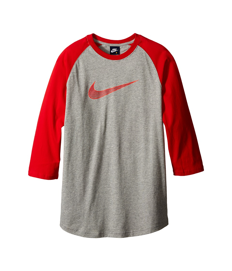 Nike Kids - Knit Tee (Little Kids/Big Kids) (Dark Grey Heather/University Red) Boy's Clothing