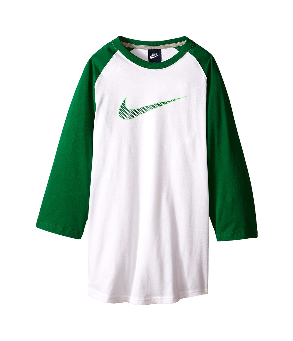 Nike Kids - Knit Tee (Little Kids/Big Kids) (White/Pine Green) Boy's Clothing
