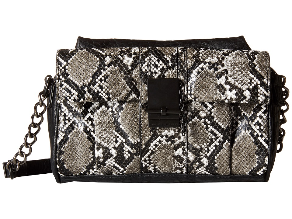 French Connection - Izzy - Crossbody (Black/Black Snake) Cross Body Handbags