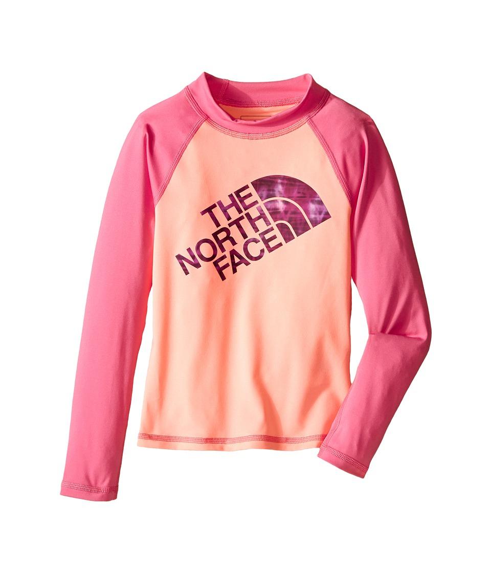 The North Face Kids - Dogpatch L/S Rash Guard (Little Kids/Big Kids) (Neon Peach) Girl's Swimwear