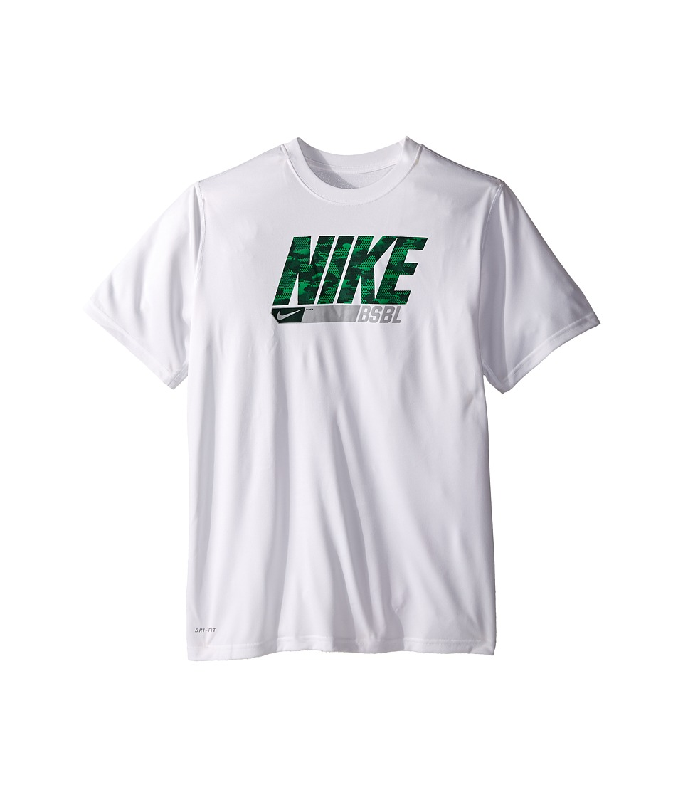 Nike Kids - Legend Baseball Tee (Little Kids/Big Kids) (White) Boy's Short Sleeve Pullover