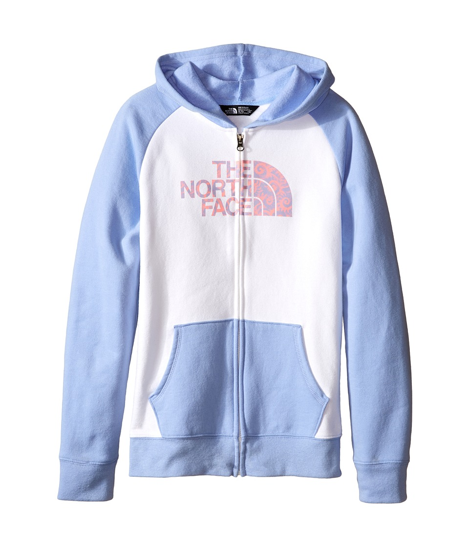 The North Face Kids - Logowear Full Zip Hoodie (Little Kids/Big Kids) (TNF White/Collar Blue) Girl's Sweatshirt