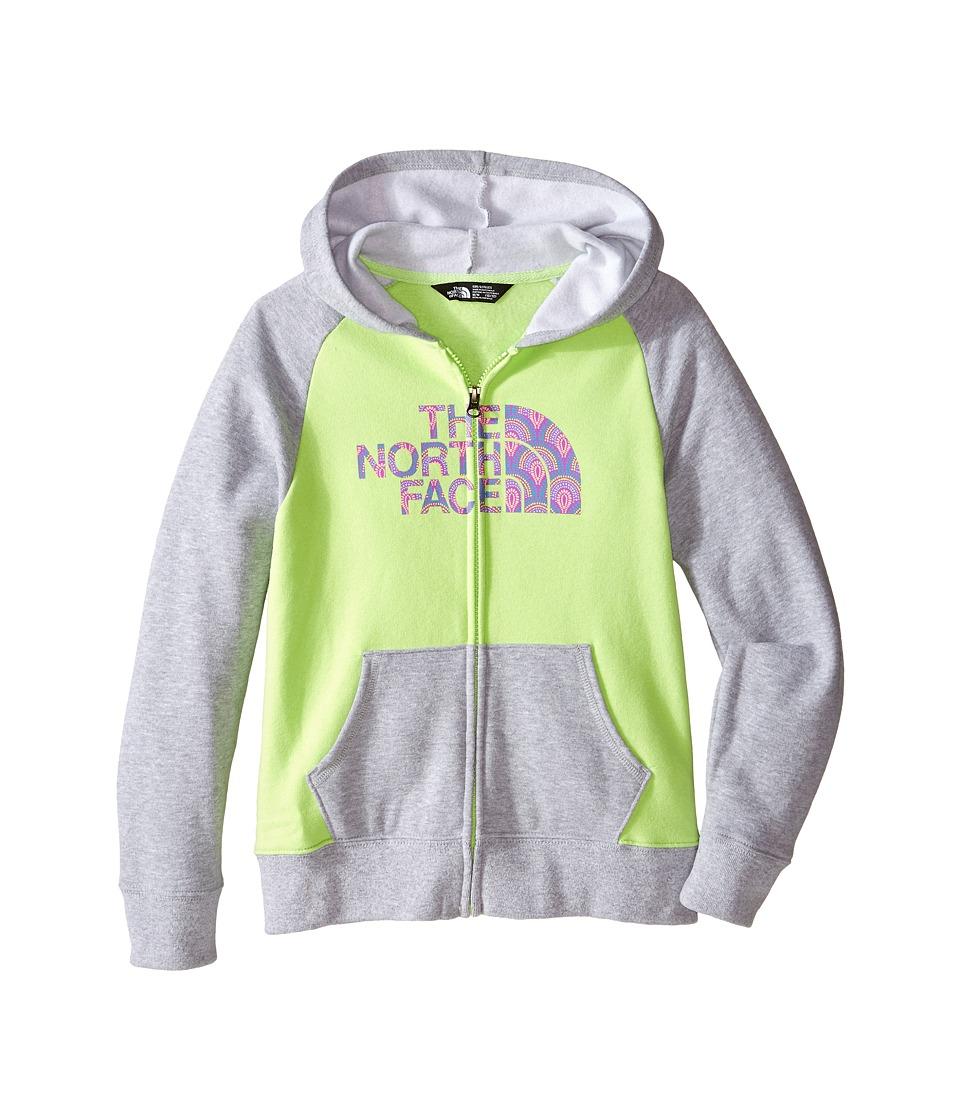 The North Face Kids - Logowear Full Zip Hoodie (Little Kids/Big Kids) (Budding Green/Heather Grey) Girl's Sweatshirt