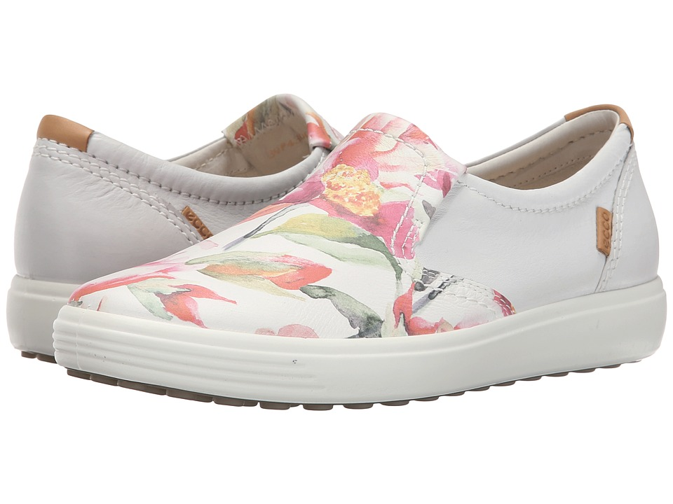 ECCO - Soft VII Slip-On (White Floral Print/White/Powder) Women's Slip on Shoes