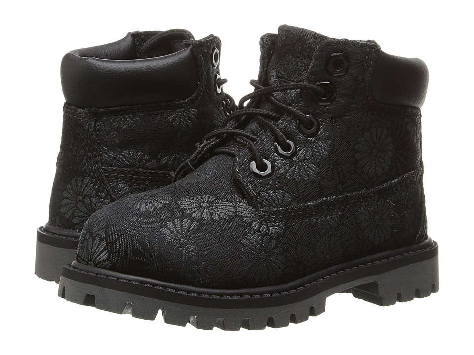 Timberland Kids - 6 in Premium Waterproof Fabric Boot (Toddler/Little Kid) (Black Floral Jacquard) Girls Shoes