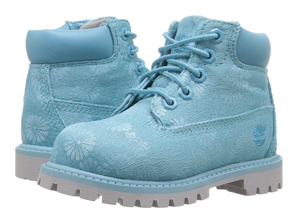 Timberland Kids - 6 in Premium Waterproof Fabric Boot (Toddler/Little Kid) (Maui Blue Floral Jacquard) Girls Shoes