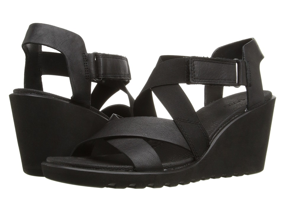 ECCO - Freja Wedge Sandal Strap (Black) Women's Wedge Shoes