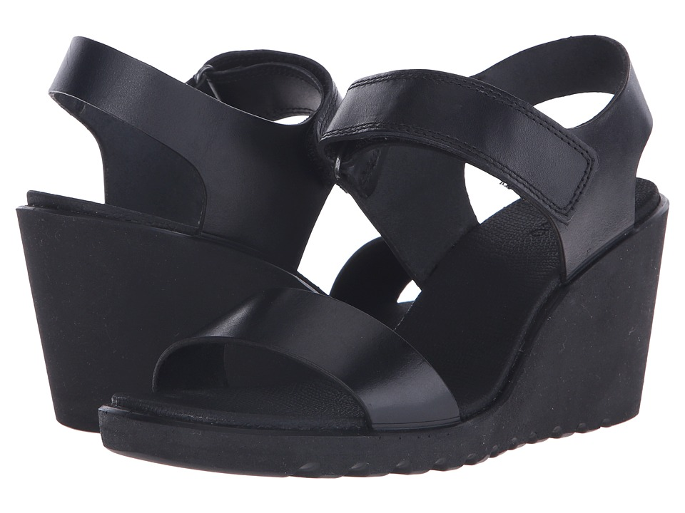 ECCO - Freja Wedge Sandal (Black) Women's Wedge Shoes