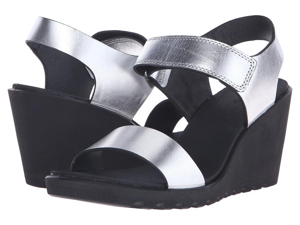ECCO - Freja Wedge Sandal (Silver Metallic) Women's Wedge Shoes