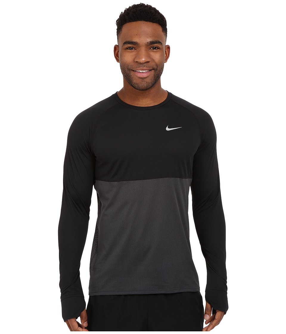 Nike - Dri-FIT Racer Running Shirt (Black/Anthracite/Reflective Silver) Men's Long Sleeve Pullover