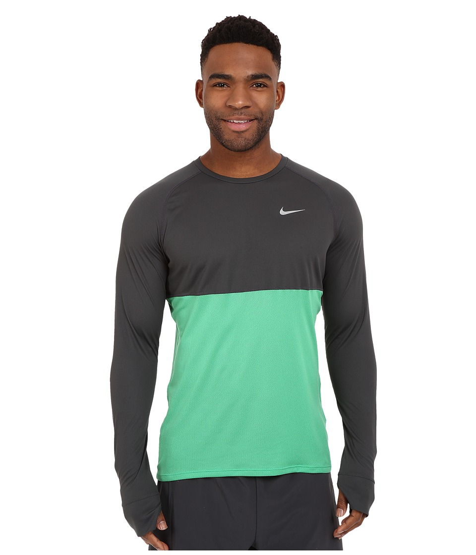 Nike - Dri-FIT Racer Running Shirt (Anthracite/Spring Leaf/Reflective Silver) Men's Long Sleeve Pullover