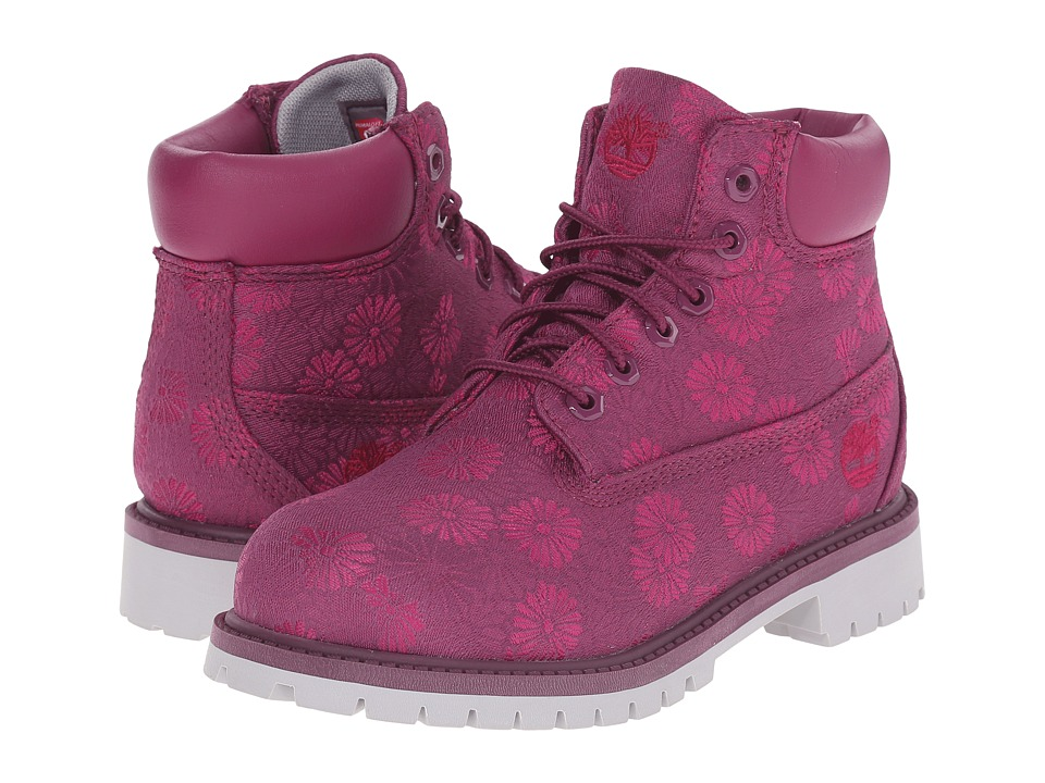 Timberland Kids - 6 in Premium Waterproof Fabric Boot (Little Kid) (Magenta Purple Floral Jacquard) Girls Shoes
