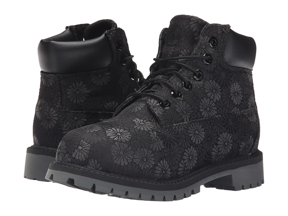 Timberland Kids - 6 in Premium Waterproof Fabric Boot (Little Kid) (Black Floral Jacquard) Girls Shoes