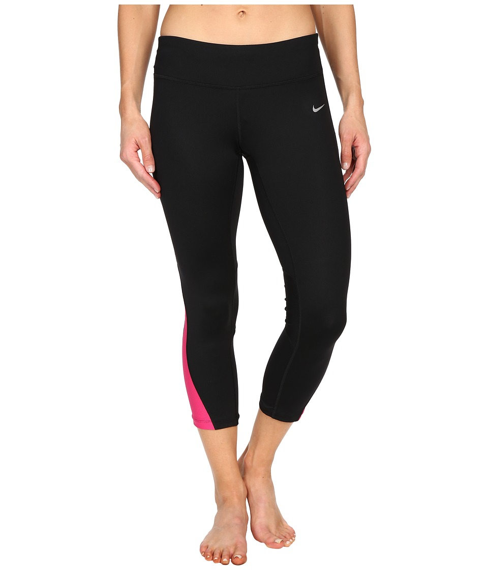 Nike - Racer Crop 3.0 Pants (Black/Vivid Pink/Reflective Silver) Women's Workout