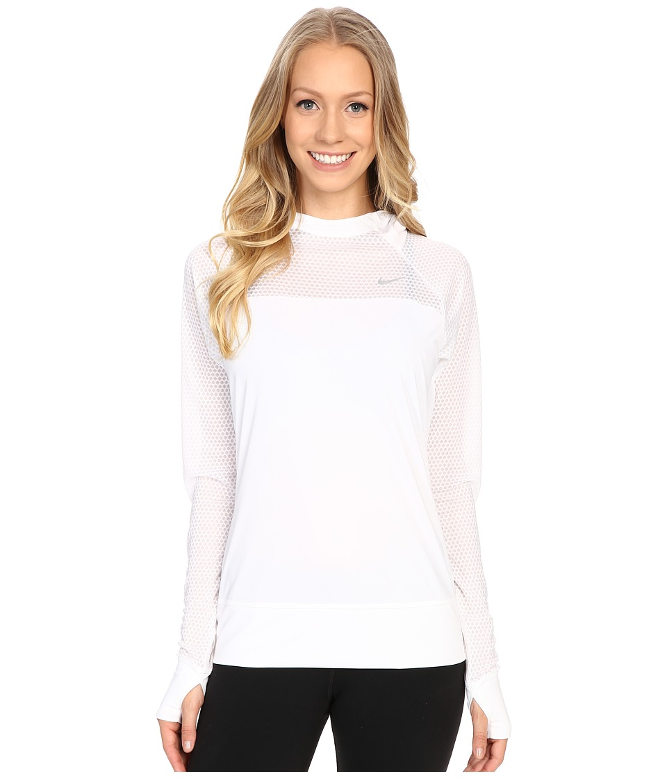 Nike - Run Fast Hoodie (White/Reflective Silver) Women's Sweatshirt