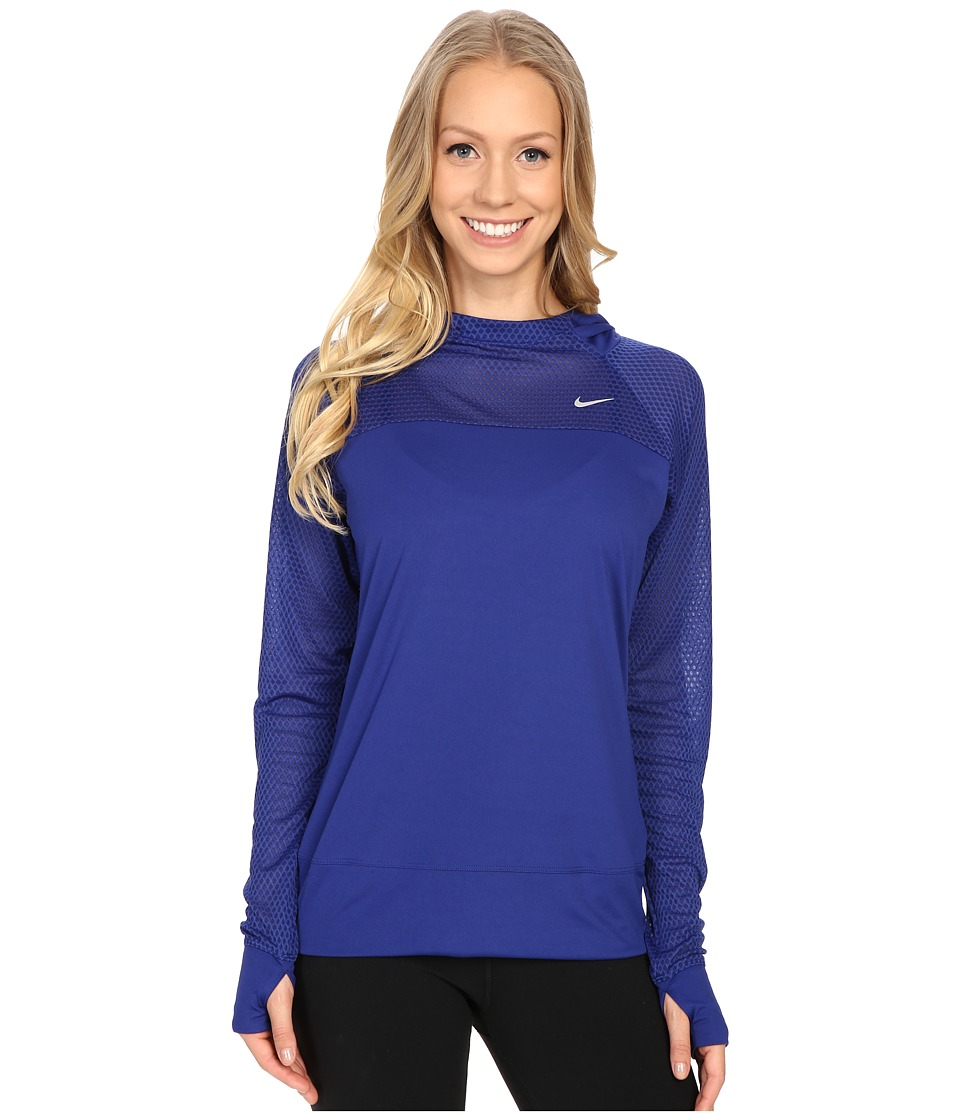 Nike - Run Fast Hoodie (Deep Royal Blue/Reflective Silver) Women's Sweatshirt