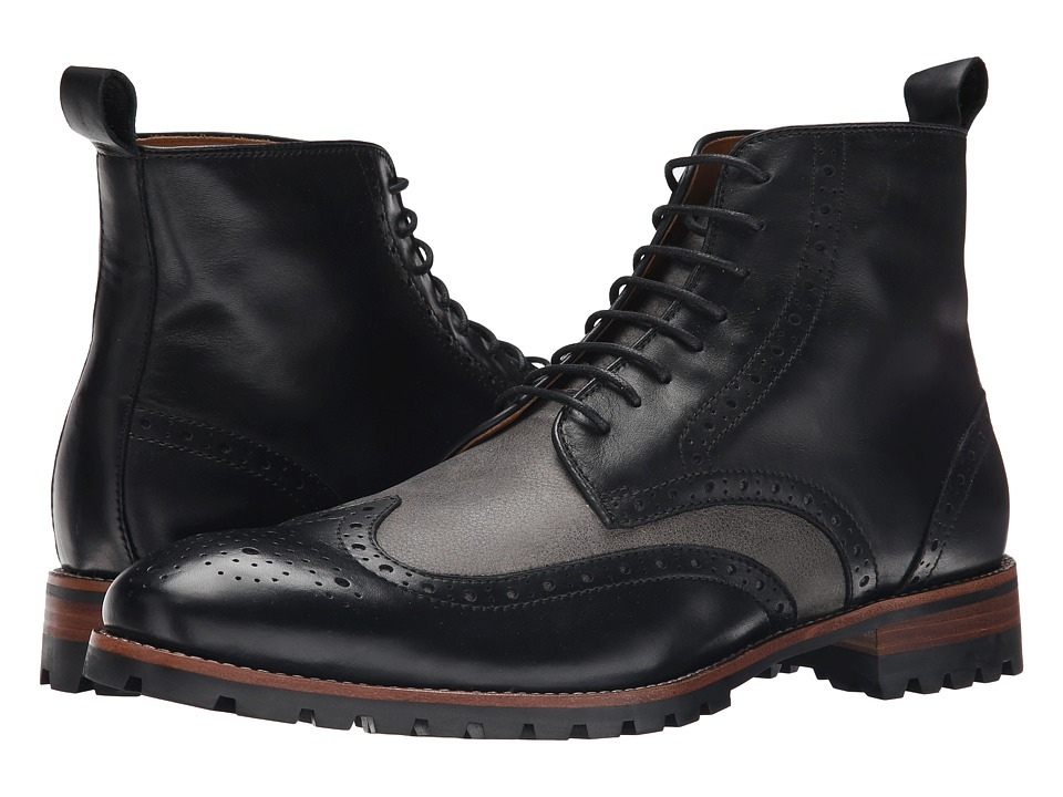 Ron White - Wayne (Black/Slate Distressed Calf/Pebble Grain) Men's Dress Lace-up Boots