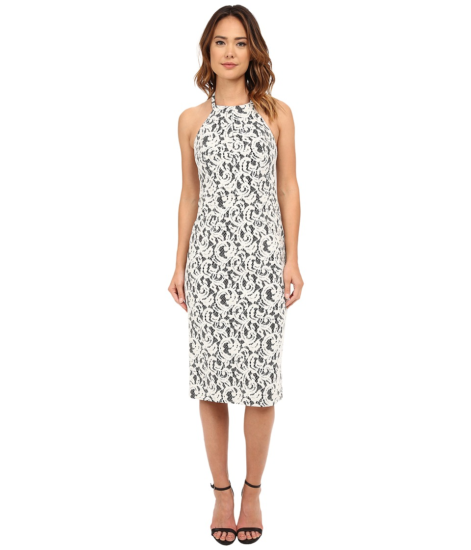 Shoshanna - Uma Midi Dress (Snow/Jet) Women