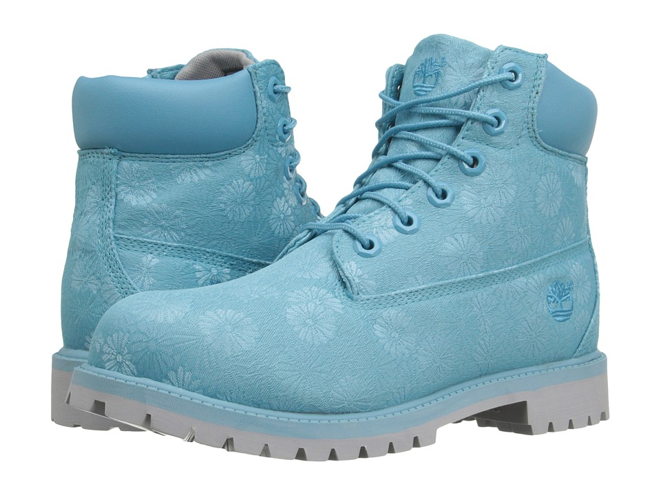 Timberland Kids - 6 in Premium Waterproof Fabric Boot (Big Kid) (Maui Blue Floral Jacquard) Girls Shoes