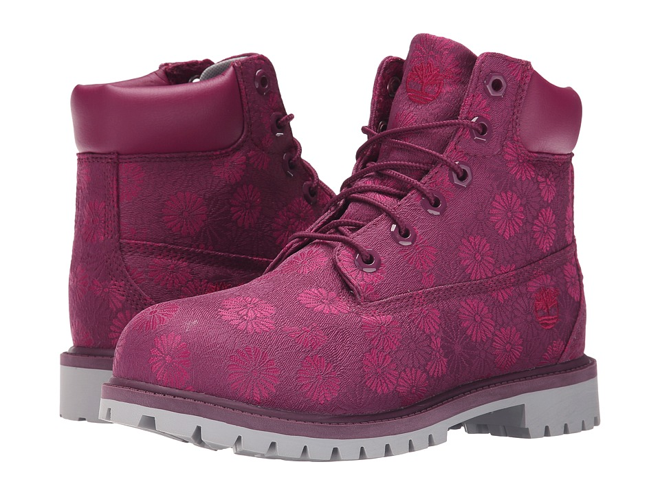 Timberland Kids - 6 in Premium Waterproof Fabric Boot (Big Kid) (Magenta Purple Floral Jacquard) Girls Shoes