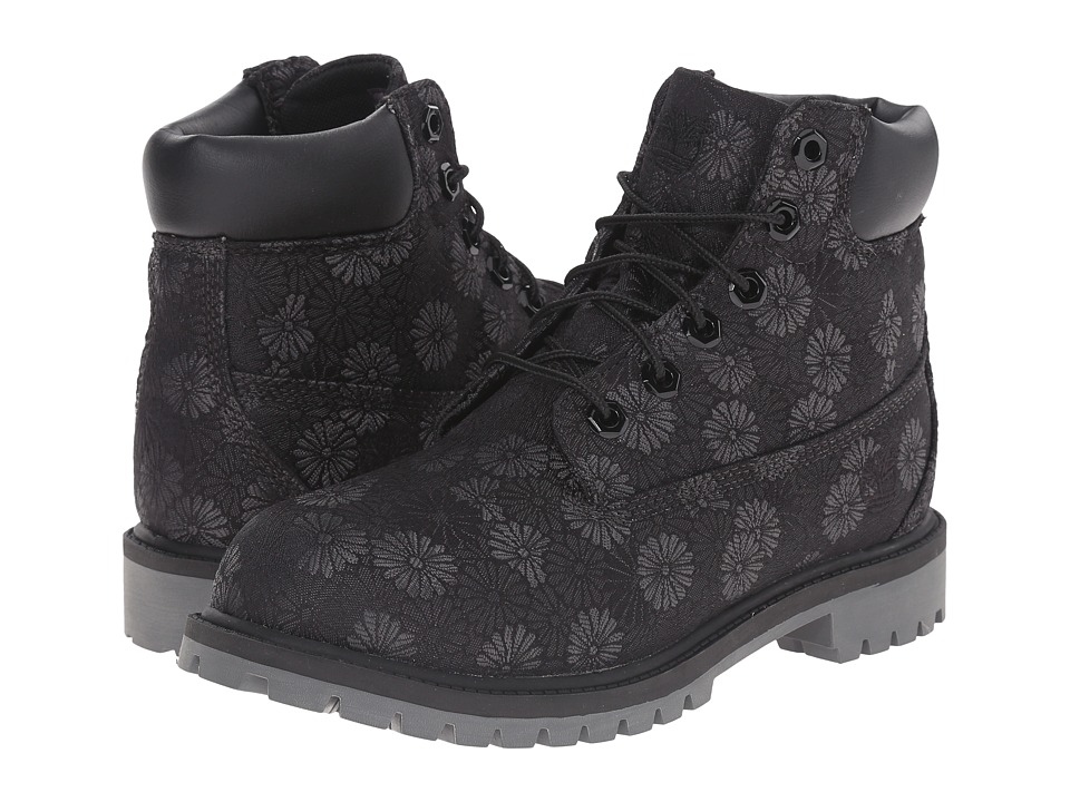 Timberland Kids - 6 in Premium Waterproof Fabric Boot (Big Kid) (Black Floral Jacquard) Girls Shoes