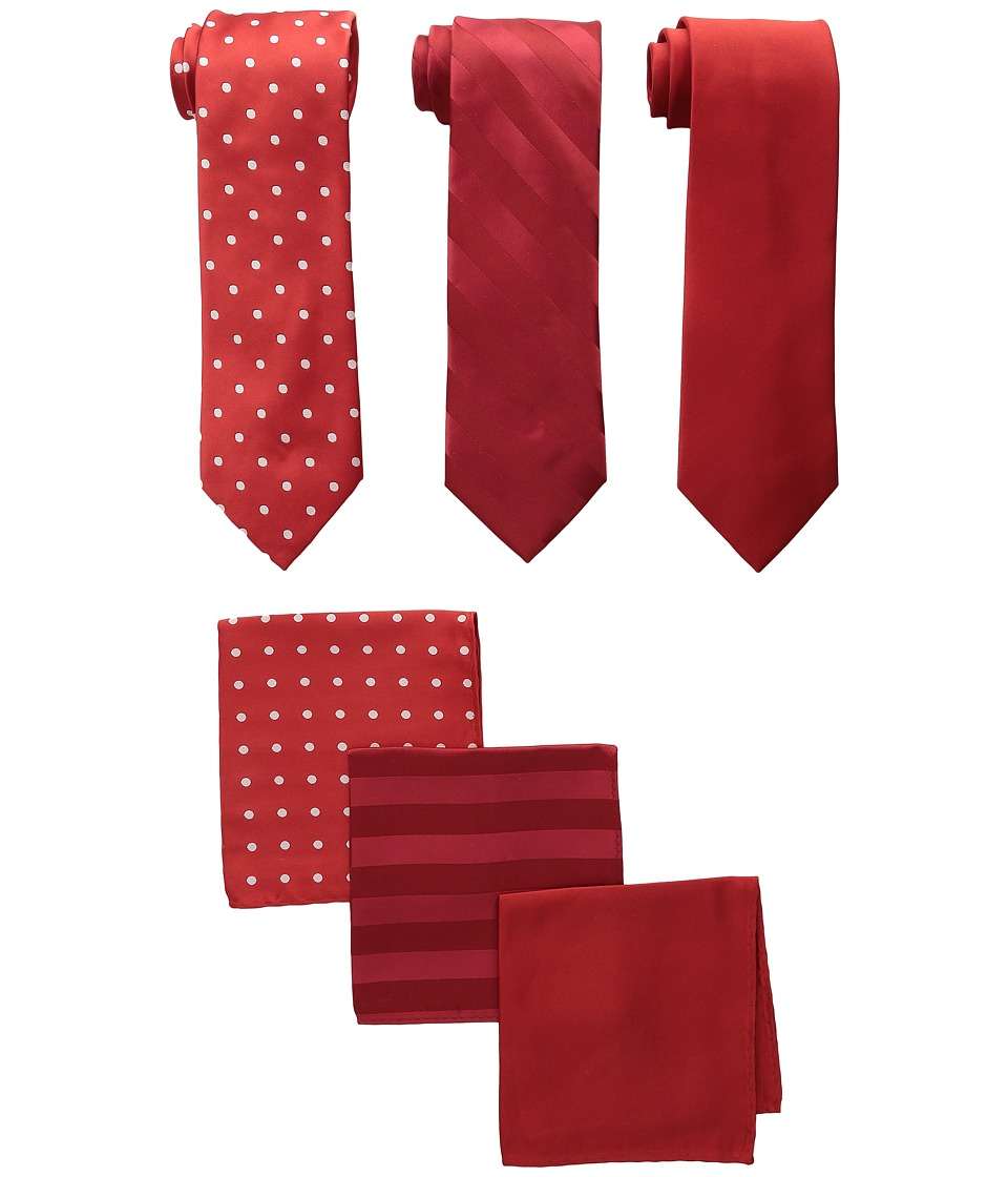 Stacy Adams - 3-Pack Tie Assortment with Pocket Squares (Fire Red) Ties