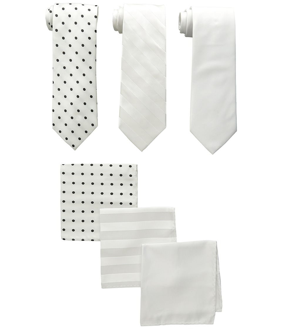 Stacy Adams - 3-Pack Tie Assortment with Pocket Squares (White) Ties