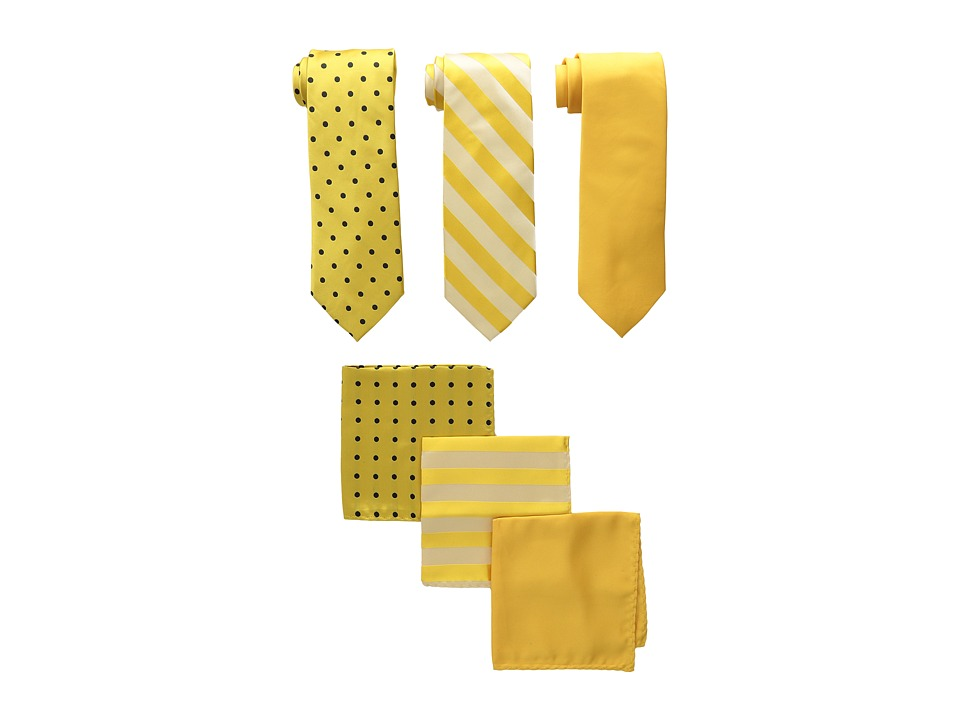Stacy Adams - 3-Pack Tie Assortment with Pocket Squares (Gold) Ties