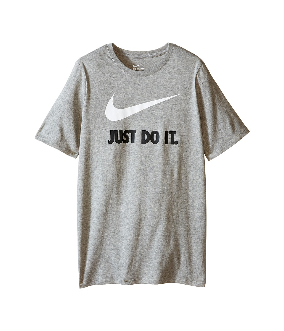 Nike Kids - JDI Swoosh Tee (Little Kids/Big Kids) (Dark Grey Heather/Dark Grey Heather/White) Boy's T Shirt