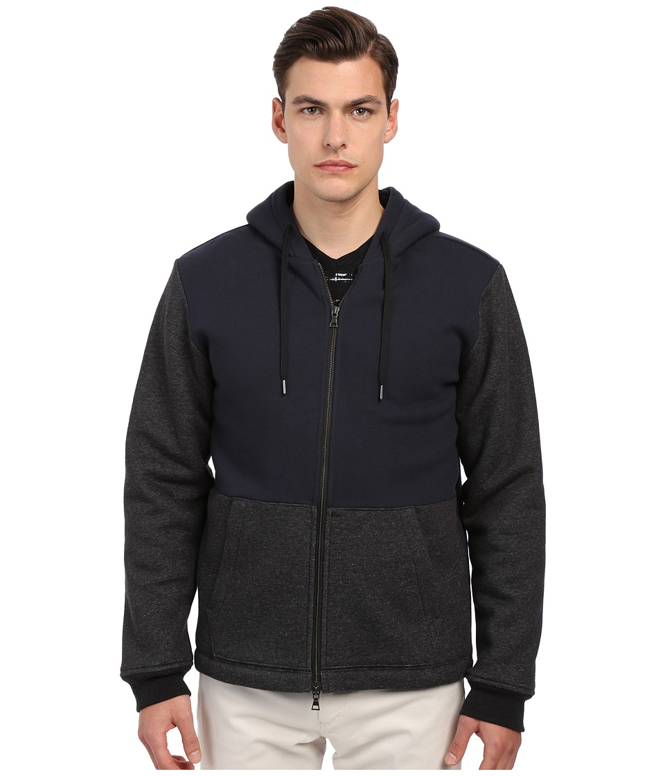 Vince - Sherpa Lined Zip Hoodie (Coastal/Heather Black) Men's Sweatshirt