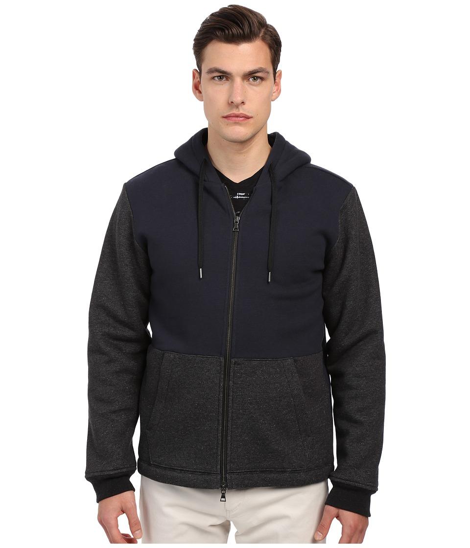 Vince - Sherpa Lined Zip Hoodie (Coastal/Heather Black) Men's Sweatshirt