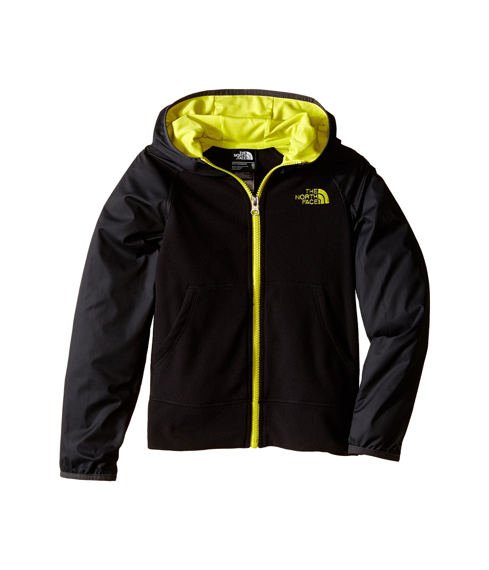 The North Face Kids - Glacier Track Full Zip Hoodie (Little Kids/Big Kids) (TNF Black/Sulphur Spring Green) Boy's Sweatshirt