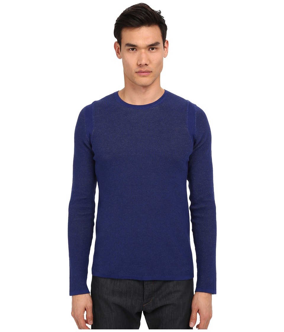Vince - Sporty Jaspe Thermal Crew Neck (Twilight Blue) Men's Sweater