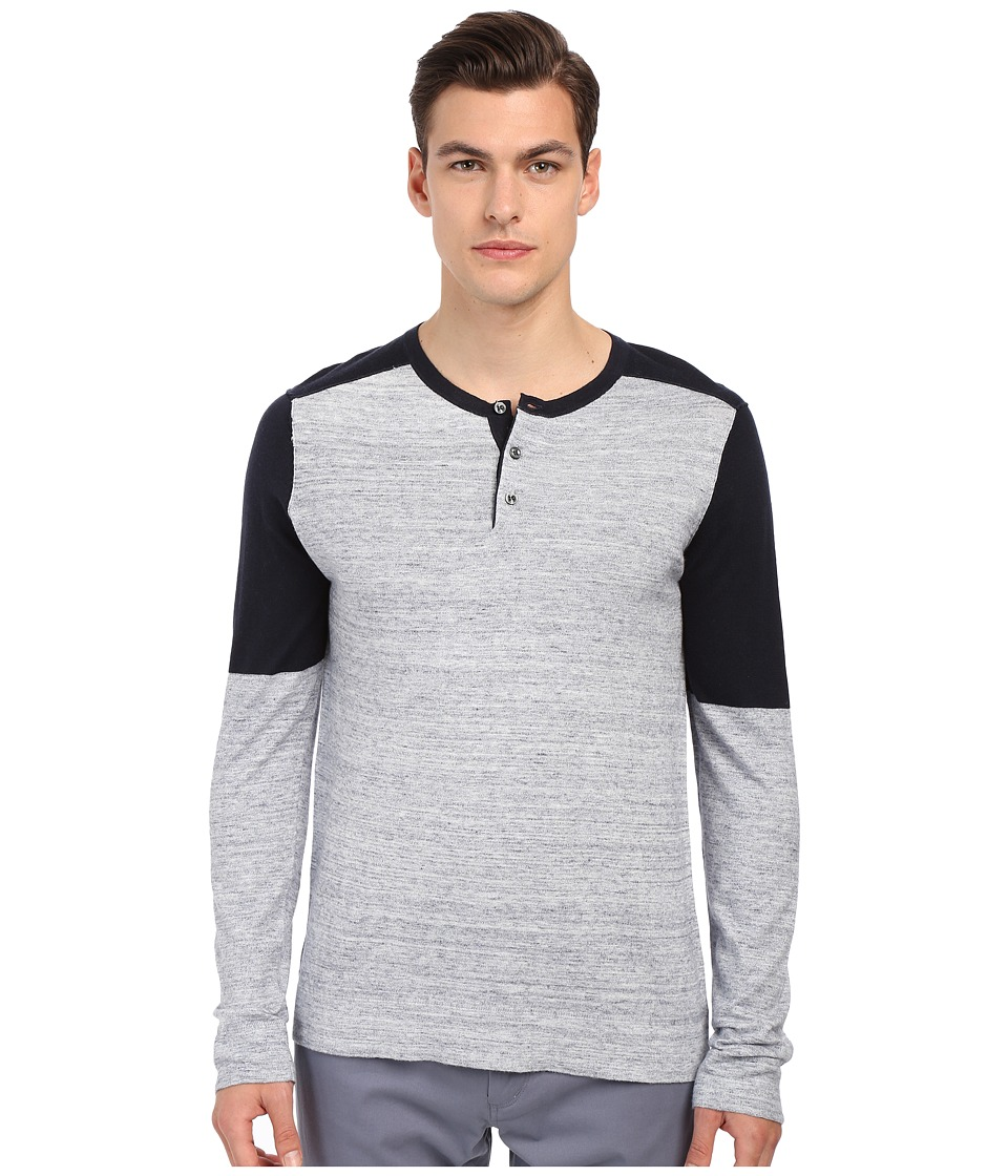 Vince - Sporty Jaspe Blocked Henley (Heather Herring) Men's T Shirt