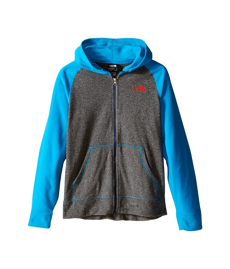 The North Face Kids - Glacier Full Zip Hoodie (Little Kids/Big Kids) (TNF Medium Grey Heather/Meridian Blue) Boy's Sweatshirt