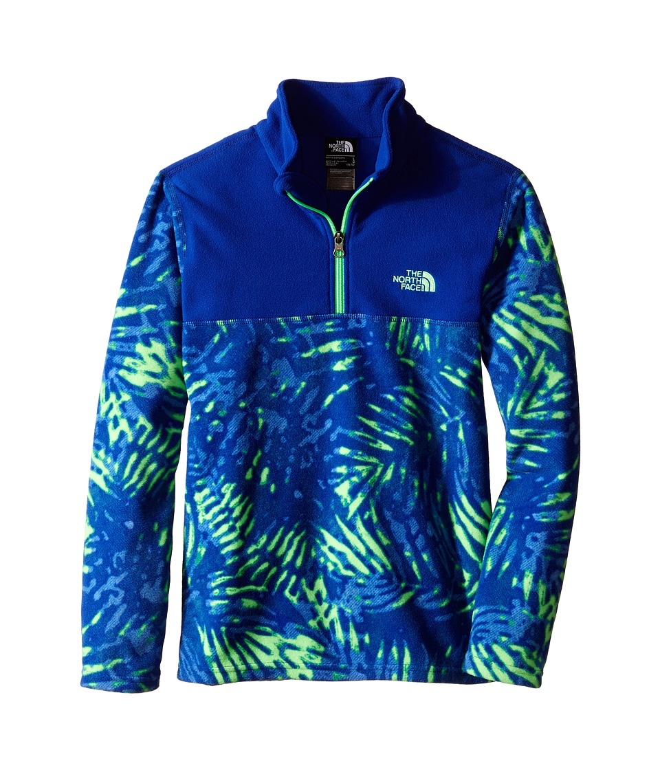The North Face Kids - Glacier 1/4 Zip (Little Kids/Big Kids) (Electric Mint Green Palm Print) Boy's Long Sleeve Pullover