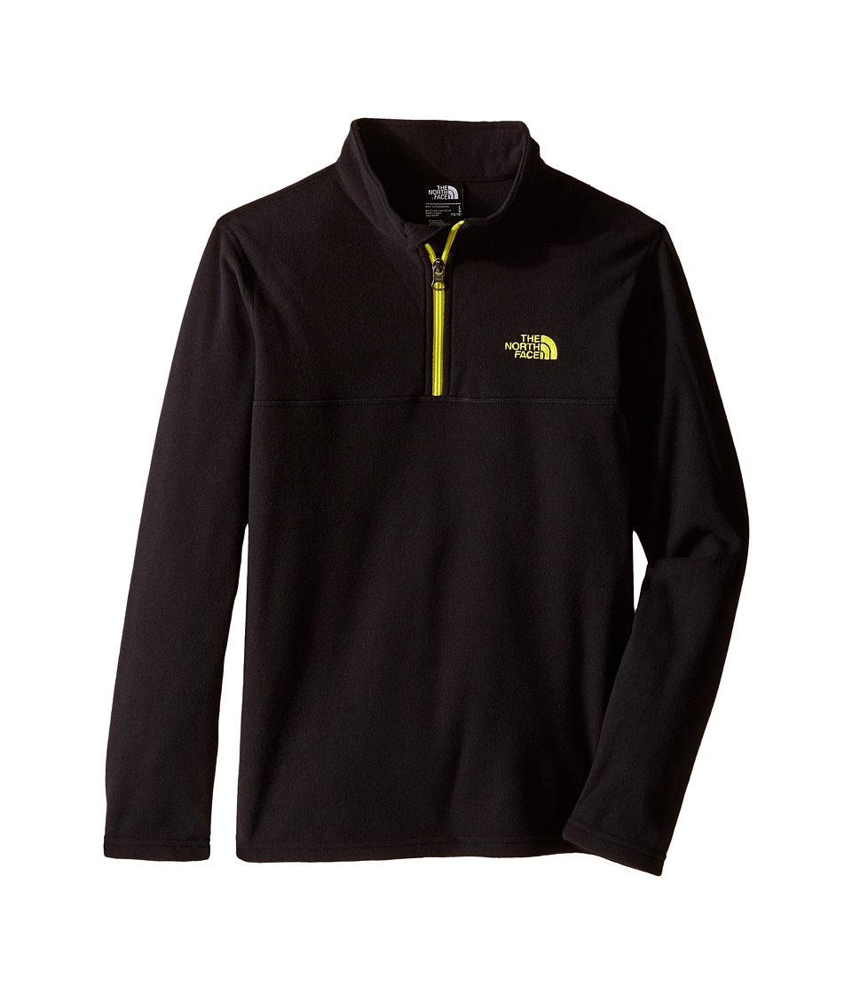 The North Face Kids - Glacier 1/4 Zip (Little Kids/Big Kids) (TNF Black/Sulphur Spring Green) Boy's Long Sleeve Pullover