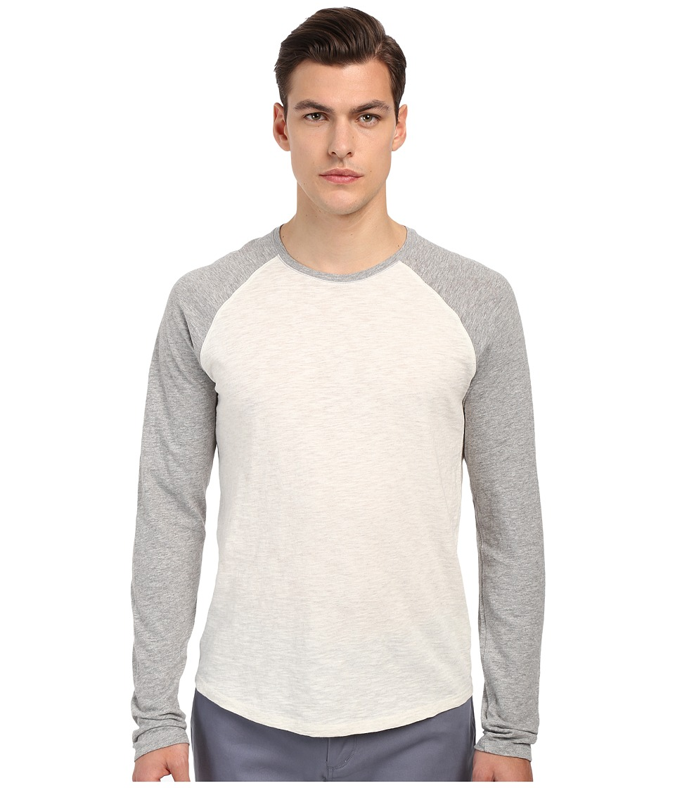 Vince - Long Sleeve Slub Raglan Baseball Tee (Heather White/Heather Steel) Men's T Shirt