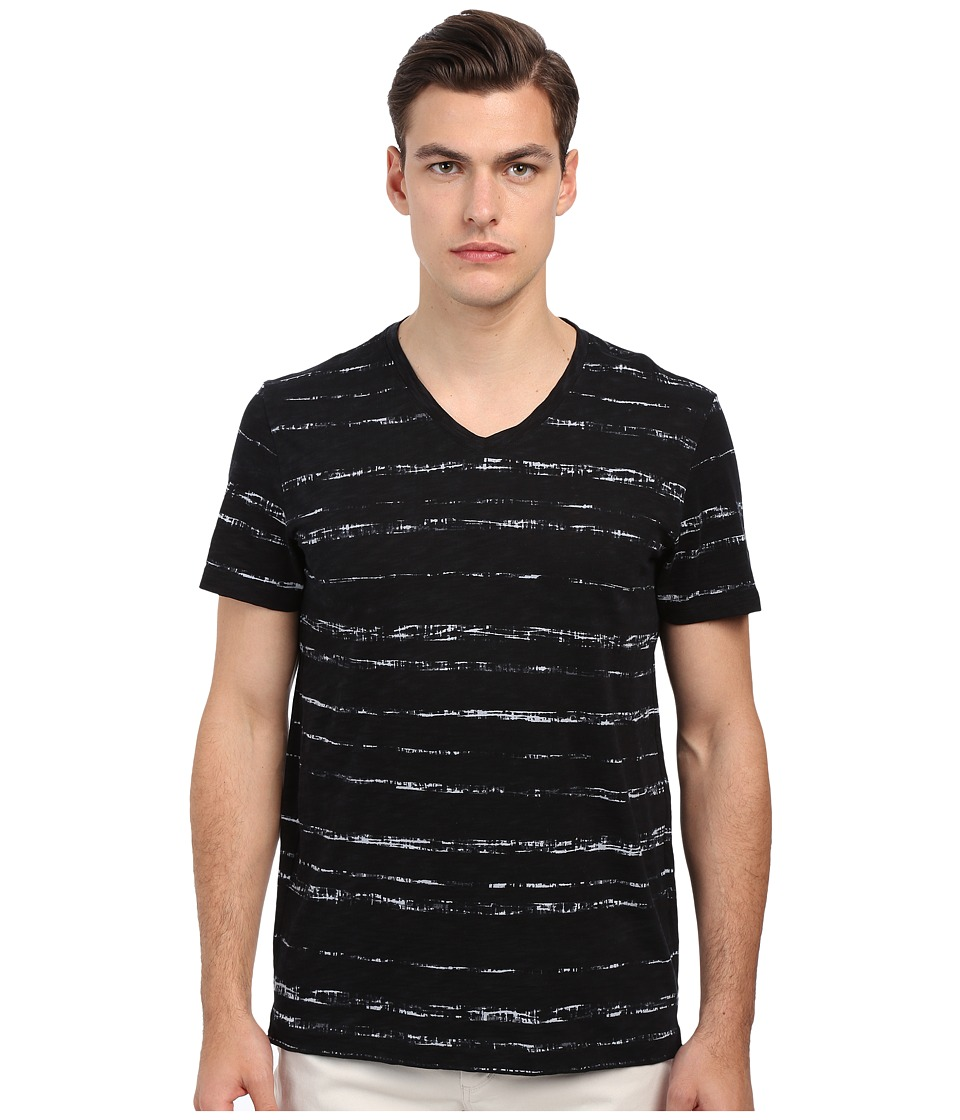 Vince - Short Sleeve Roller Print V-Neck T-Shirt (Black) Men's T Shirt